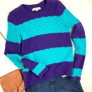 LOFT Purple Turquoise Striped Alpaca Wool Sweater